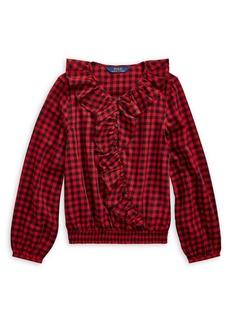 Ralph Lauren Childrenswear Girl's Ruffle Cotton Twill Top