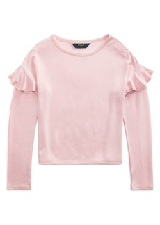 Ralph Lauren Childrenswear Girl's Ruffle-Trimmed French Terry Top
