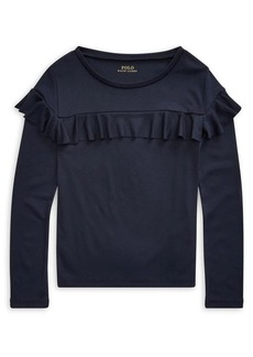 Ralph Lauren Childrenswear Girl's Ruffled Cotton-Blend Top