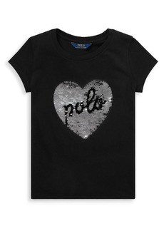Ralph Lauren Childrenswear Girl's Sequin Cotton Graphic Tee
