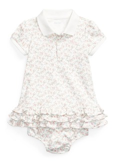 Ralph Lauren Childrenswear Girl's Short-Sleeve Floral Polo Dress w/ Matching Bloomers  Size 6-24M