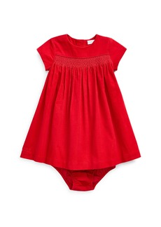 Ralph Lauren Childrenswear Girl's Smocked Corduroy Dress w/ Matching Bloomers  Size 6-24 Months