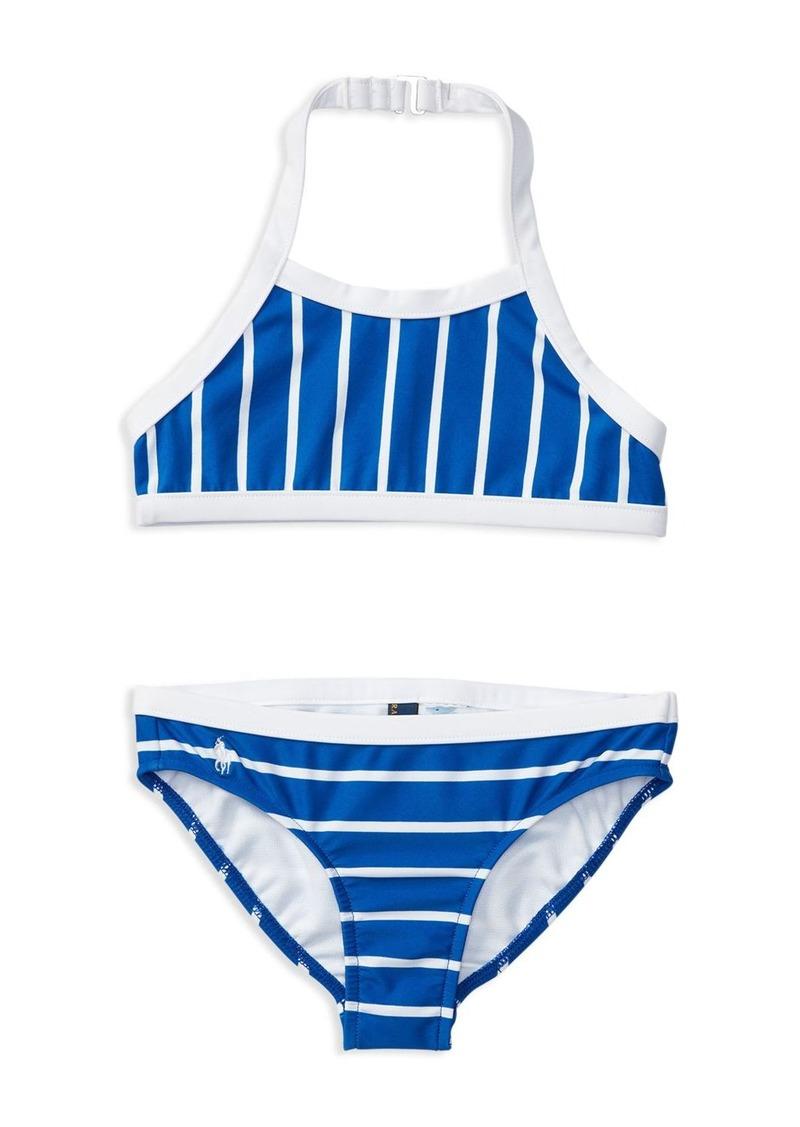 Ralph Lauren Childrenswear Girls' Stripe 2-Piece Swimsuit - Little Kid