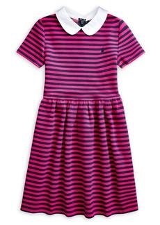 Ralph Lauren Childrenswear Girl's Striped Cotton-Blend Ottoman Dress