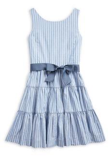Ralph Lauren Childrenswear Girl's Striped Cotton Dobby Fit & Flare Dress