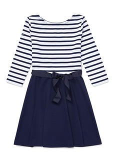 Ralph Lauren Childrenswear Girl's Striped Fit-&-Flare Ponte Dress