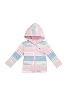 Ralph Lauren Childrenswear Girl's Striped Knit Hooded Cardigan  Size 9-24M