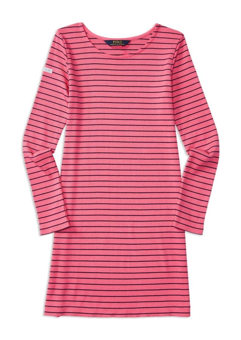 Ralph Lauren Childrenswear Girls' Striped Ribbed Knit Dress - Sizes S-XL
