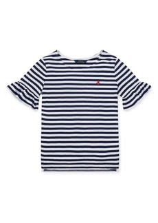 Ralph Lauren Childrenswear Girl's Striped Ruffle-Sleeve Cotton Top