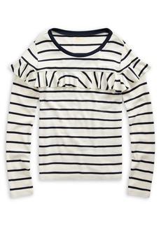 Ralph Lauren Childrenswear Girl's Striped Ruffled Cotton-Blend Top