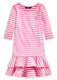 Ralph Lauren Childrenswear Girl's Striped Stretch-Cotton Tiered Dress