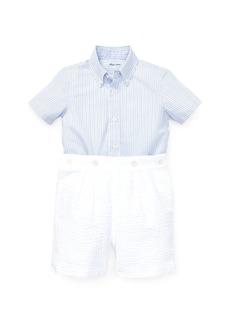 Ralph Lauren Childrenswear Hairline Striped Top w/ Button Secured Seersucker Shorts  Size 6-24 Months