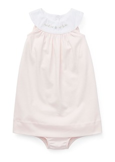 Ralph Lauren Childrenswear Interlock Embroidered Knit Dress w/ Matching Bloomers  Size 6-24 Months