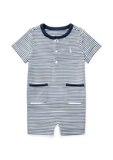 Ralph Lauren Childrenswear Jersey Stripe Cap-Sleeve Playsuit