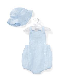 Ralph Lauren Childrenswear Linen Romper w/ Matching Hat