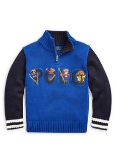 Ralph Lauren Childrenswear Little Boy's Cotton Half-Zip Sweater