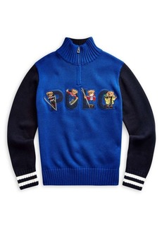 Ralph Lauren Childrenswear Boy's Bear Half-Zip Cotton Sweater