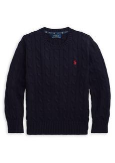 Ralph Lauren Childrenswear Little Boy's Cable-Knit Cotton Sweater