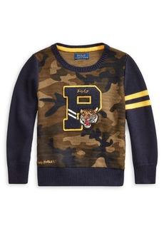 Ralph Lauren Childrenswear Little Boy's Camo Letterman Cotton Sweater