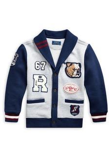 Ralph Lauren Childrenswear Little Boy's Cotton-Blend Fleece Letterman Cardigan