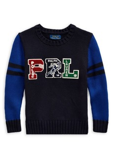 Ralph Lauren Childrenswear Little Boy's & Boy's Embroidered Logo Cotton Sweater