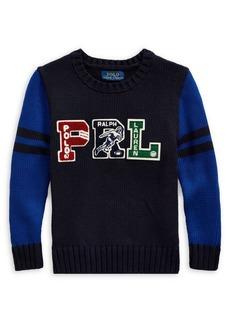 Ralph Lauren Childrenswear Little Boy's Embroidered Logo Cotton Sweater