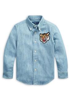 Ralph Lauren Childrenswear Little Boy's Tiger Plaid Cotton Chambray Shirt