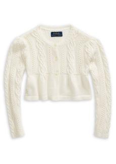 Ralph Lauren Childrenswear Little Girl's Cable-Knit Cotton-Blend Cardigan