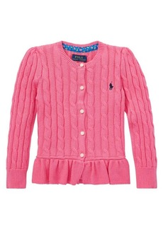 Ralph Lauren Childrenswear Little Girl's Cotton Peplum Cardigan
