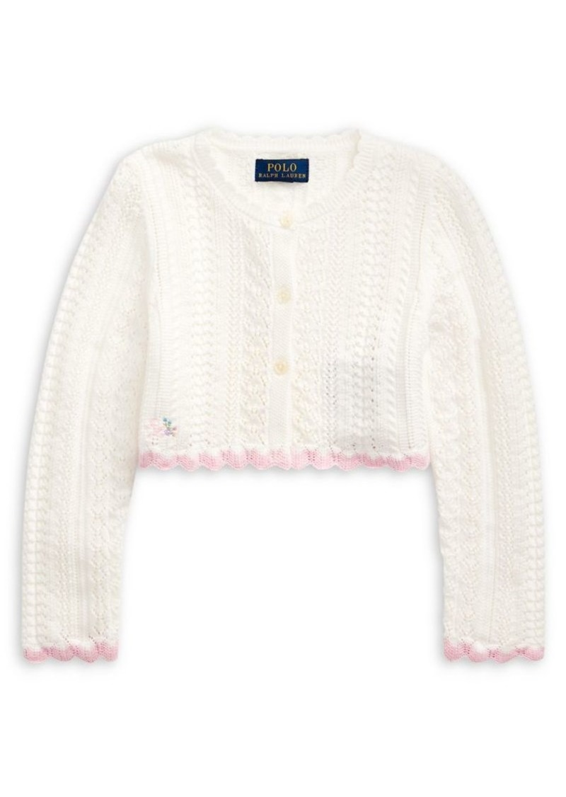 Ralph Lauren Childrenswear Little Girl's Cropped Cotton Cardigan