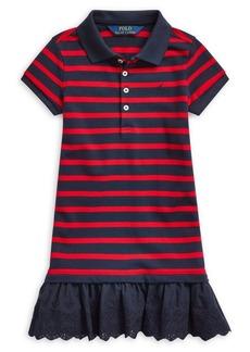 Ralph Lauren Childrenswear Little Girl's Eyelet Stretch Mesh Polo Dress