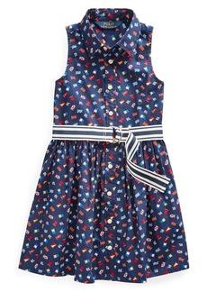 Ralph Lauren Childrenswear Little Girl's Flag Belted Cotton Shirtdress