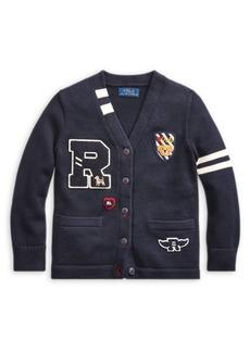 Ralph Lauren Childrenswear Little Girl's Letterman Cotton Cardigan