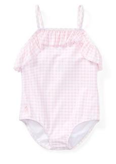 Ralph Lauren Childrenswear Little Girl's One-Piece Gingham Swimsuit