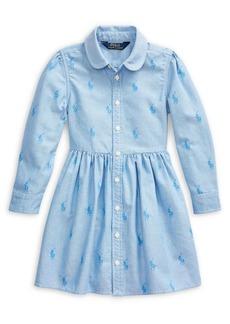 Ralph Lauren Childrenswear Little Girl's Pony Cotton Shirtdress