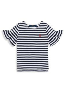 Ralph Lauren Childrenswear Little Girl's Ruffle-Sleeve Cotton Top