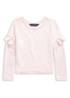 Ralph Lauren Childrenswear Little Girl's Ruffle-Trimmed French Terry Top