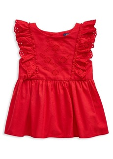 Ralph Lauren Childrenswear Little Girl's Ruffled Eyelet Cotton Top