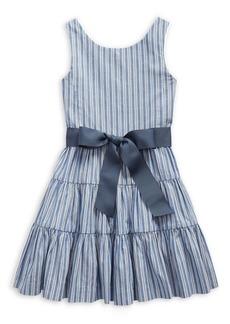 Ralph Lauren Childrenswear Little Girl's Striped Tiered Cotton Dobby Dress