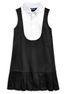 Ralph Lauren Childrenswear Little Girl's Tuxedo-Bib Ponte Dress