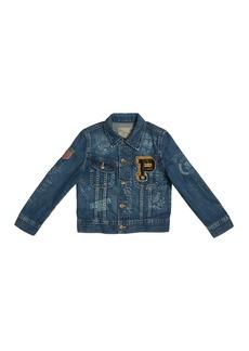 Ralph Lauren Childrenswear Logo Embroidered Denim Jacket  Size 5-7