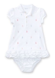 Ralph Lauren Childrenswear Logo Embroidery Ruffle Hem Polo Dress w/ Bloomers  Size 6-18 Months