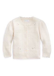 Ralph Lauren Childrenswear Merino Wool Cardigan w/ Flower Embroidery  Size 6-24 Months