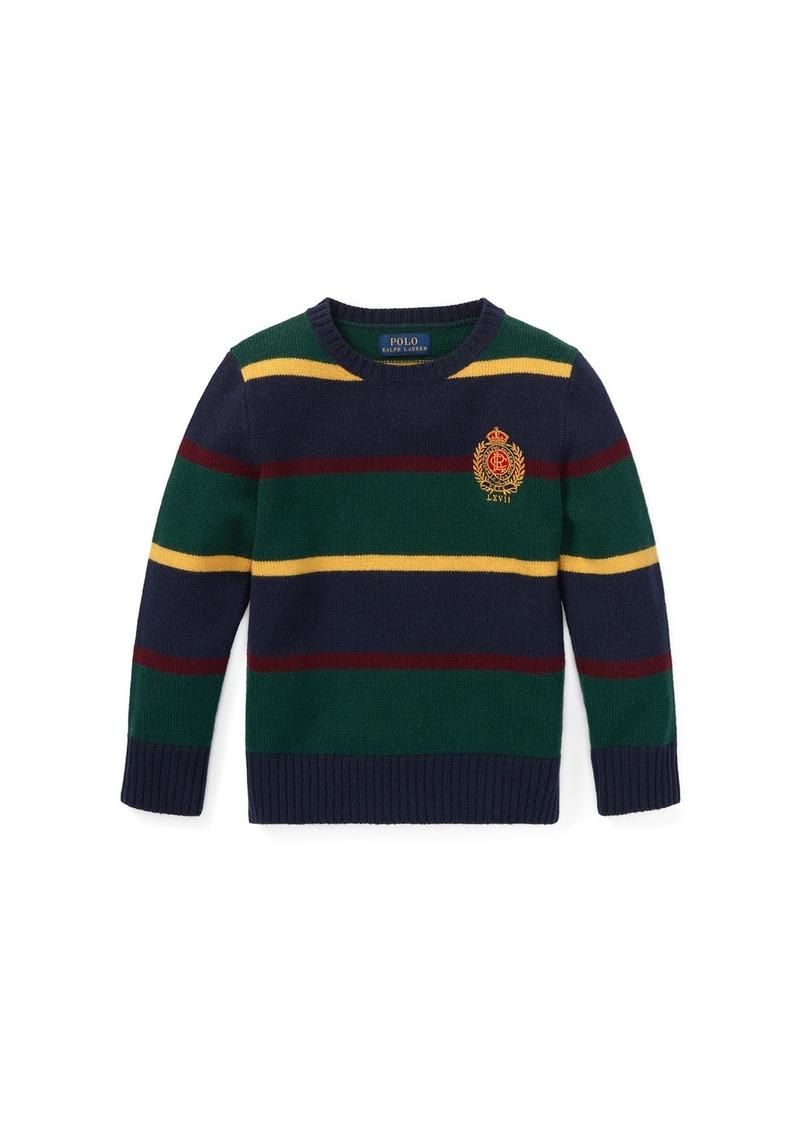 Ralph Lauren Childrenswear Merino Wool Multi-Stripe Crest Sweater  Size 2-4