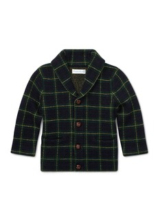 Ralph Lauren Childrenswear Merino Wool Shawl-Collar Windowpane Cardigan Sweater