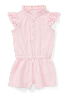 Ralph Lauren Childrenswear Mesh Flutter-Sleeves Romper