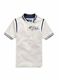 Ralph Lauren Childrenswear Mesh Knit Striped-Trim Shirt w/ Logo Embroidery  Size 5-7