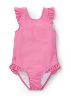 Ralph Lauren Childrenswear One-Piece Cross-Back Swimsuit w/ Ruffles
