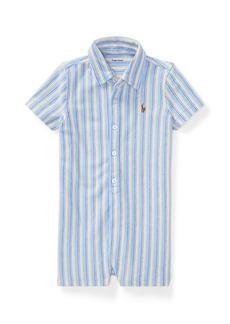 Ralph Lauren Childrenswear Oxford Mesh Striped Shortall