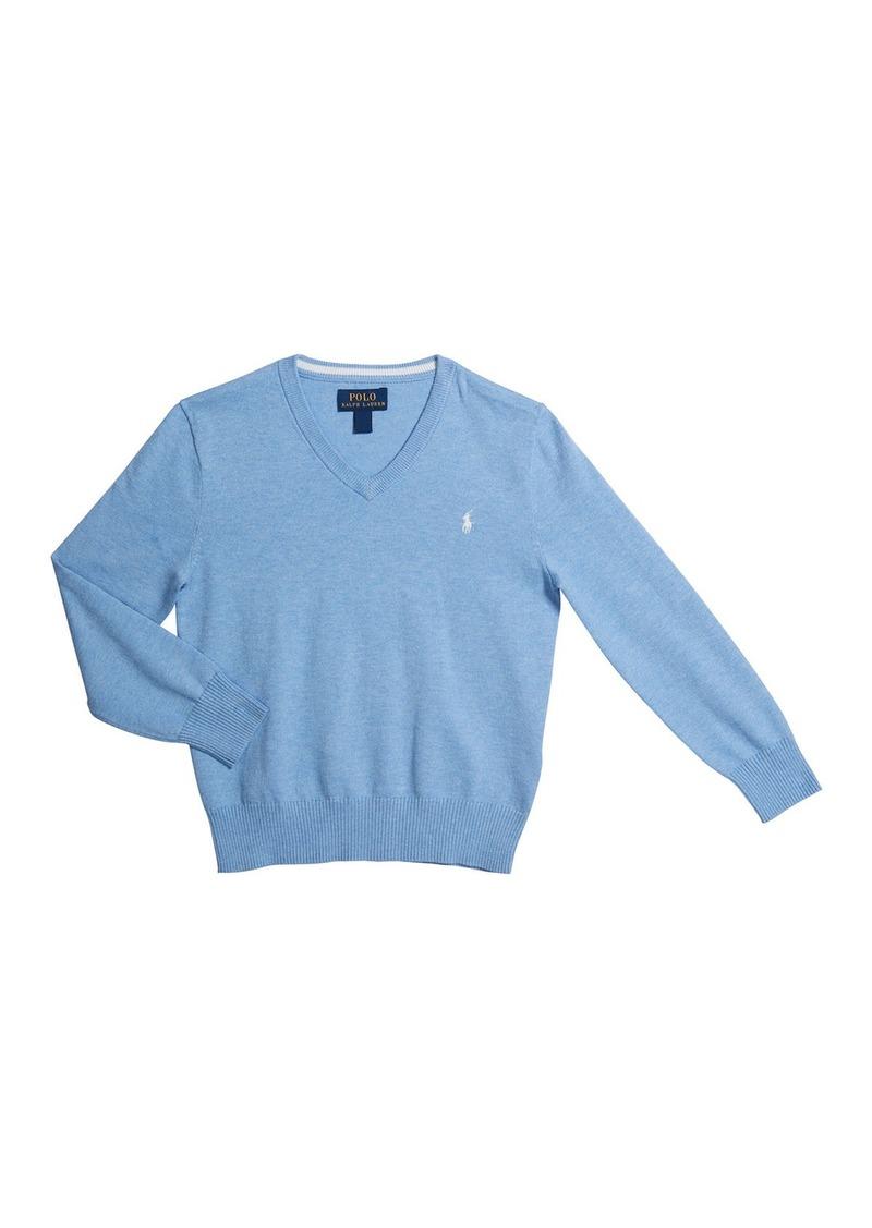 Ralph Lauren Childrenswear Pima Cotton V-Neck Sweater  Size 2-4